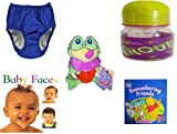 Children's Gift Bundle - Ages 0-2 [5 Piece] Includes: My Pool Pal Reusable Swim Diaper, Royal Blue 24 Months, 18-25 Pounds, ID Gear Baby Bottle Trouble 4 oz, Cupcake Cuties Sugar Loaf Plush Stuffed