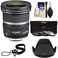 Canon EF-S 10-22mm f/3.5-4.5 USM Ultra Wide Angle Zoom Lens with 3 UV/FLD/CPL Filters + Hood Kit for EOS 70D, 7D, Rebel T5, T5i, T6i, T6s, SL1 Camera