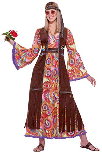 Disfraz De Hippie Halloween (Women's Hippie Love Child Costume, Multi-Colored, One)