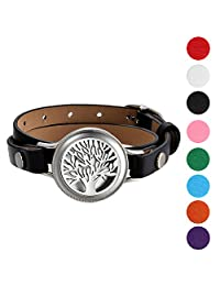 Mens Womens Hollow Life Tree Charm Essential Aromatherapy Oil Diffuser Locket Leather Wrap Bracelet With 8 Color Pads,Size Adjustable,Black