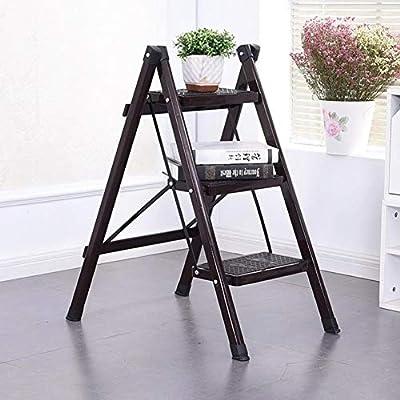 Escalera de 3 peldaños, escalera plegable antideslizante, escalera de hierro, taburete multifuncional para el hogar, marrón: Amazon.es: Bricolaje y herramientas