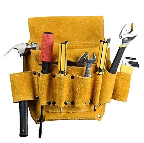 County Florist - Tool Bag Waist pack 8 Pockets Storage Work Belt Gardening Cowhide Suede Electrical Maintenance Multifunction Pouch Bag Technician's Tool Holder Organizer Framer Home