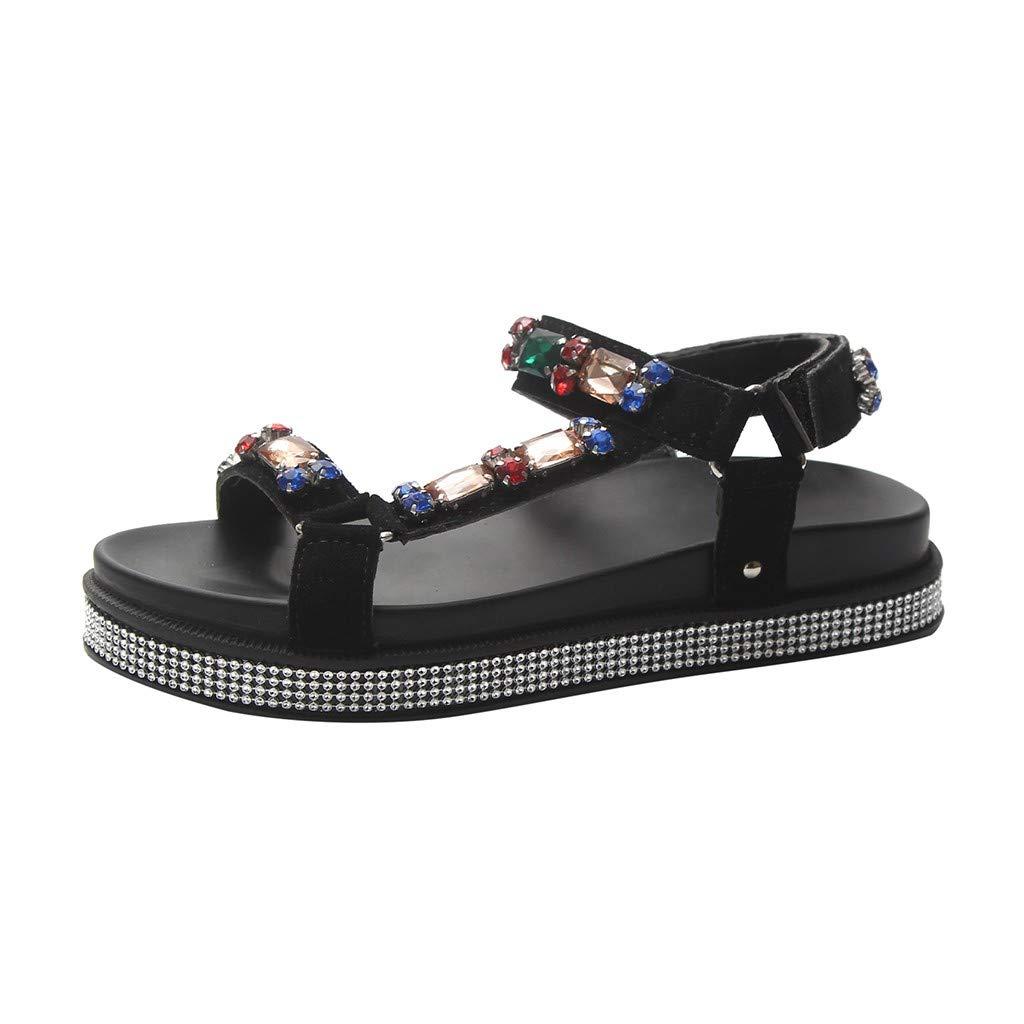 YKARITIANNA SummerWomenLadiesBohemia Retro Open Toe Crystal Flat with Sandals Beach Shoes Black