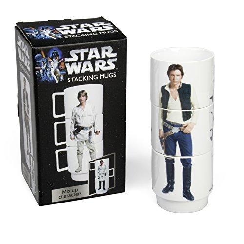 Star Wars Stacking Mugs - Set of 3 Cups - Stormtrooper, Luke Skywalker, Han Solo - Each Holds 11 oz