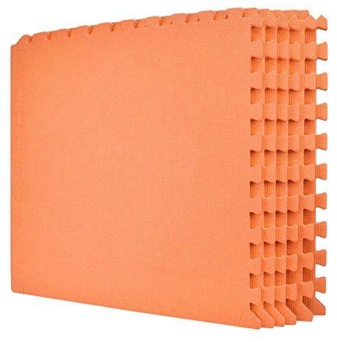 Wacces 24 x 24 inch Multi-Purpose Puzzle EVA Floor Interlocking Foam Exercise Mat Tiles - Orange