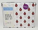 #Bedtime 4PC Full Sheet Set Ladybugs on White