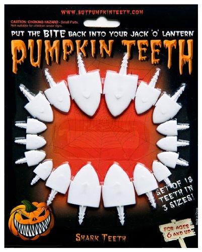 Halloween Pumpkin Carving Kit - Pumpkin Teeth for your Jack O' Lantern - Set of 18 White Shark (Easy Halloween Pumpkin Carving)