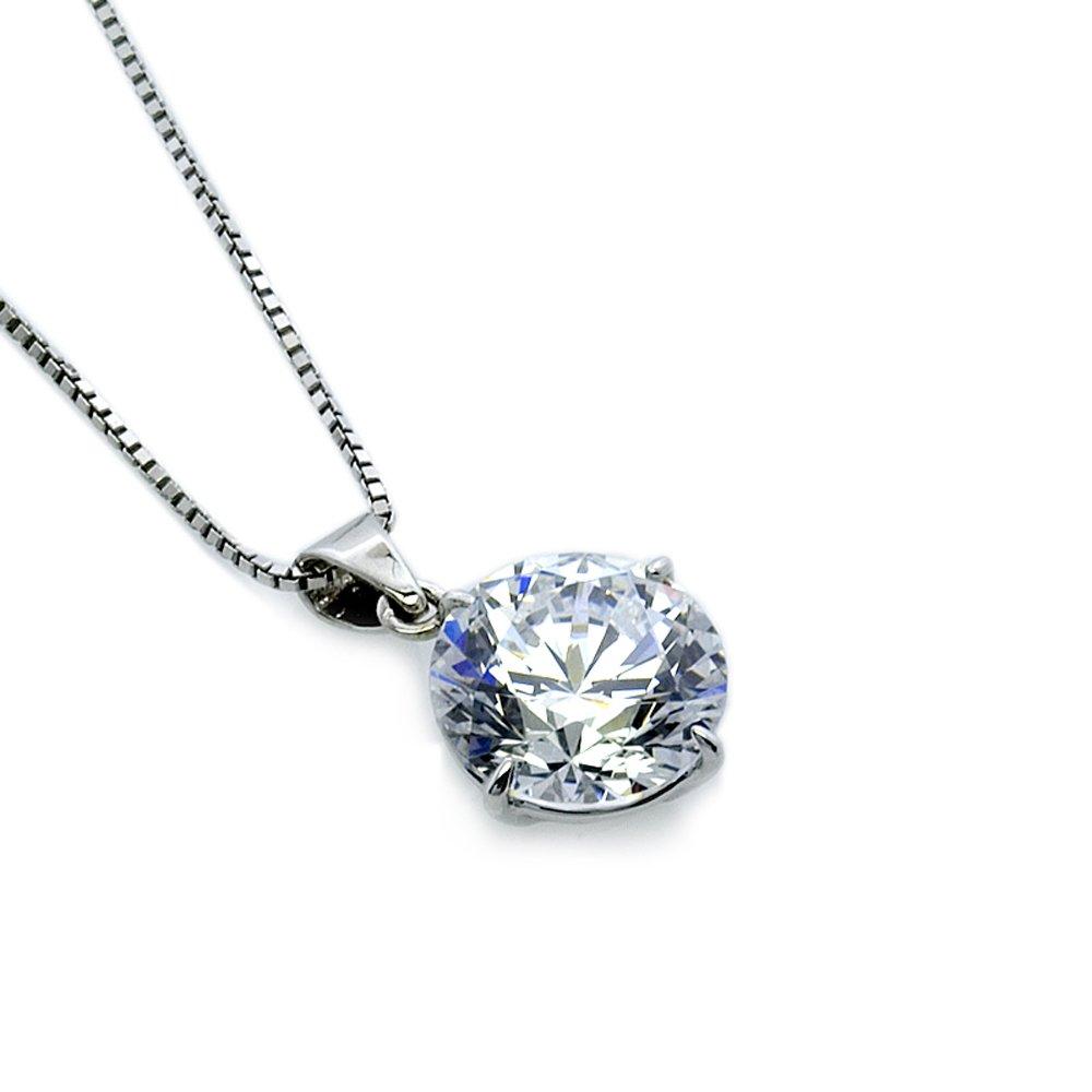 CARAT* London Women's 9ct Round White Gold Brilliant Cut 1 ct Pendant Necklace of Length 45cm 20470-26 0nZ9IA