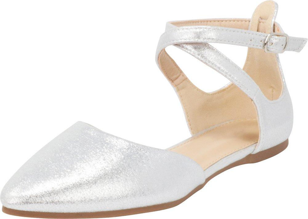 Cambridge Select Women's Closed Pointed Toe D'Orsay Crisscross Strap Ballet Flat B07F6H6YK5 7 B(M) US|Silver