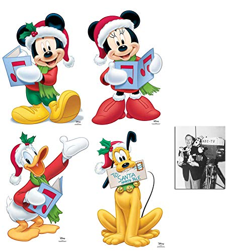 Mickey Mouse and Friends Christmas Theme Set of 4 Cardboard Cutouts with Mickey, Minnie, Pluto, and Donald Duck Fan Pack, Includes 8x10 Star Photo