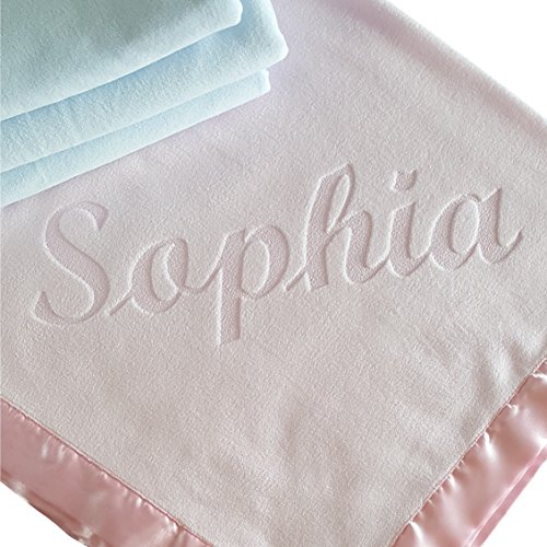 Large Personalized Baby Blanket (Pink) 36x36 Inch, Wide Satin Trim, 200 gsm Fleece (Personalized Baby Gifts Girls)
