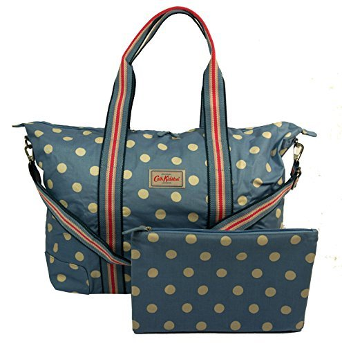 Cath Kidston NEW Foldaway Overnight Bag Button Spot Denim Blue   Amazon.co.uk  Shoes   Bags cacdd79c35a30