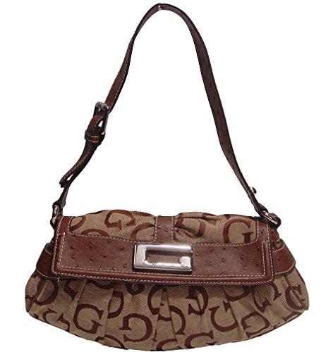 Guess Women's Bordini Ostrich Flap Hobo Bag Handbag (brown)