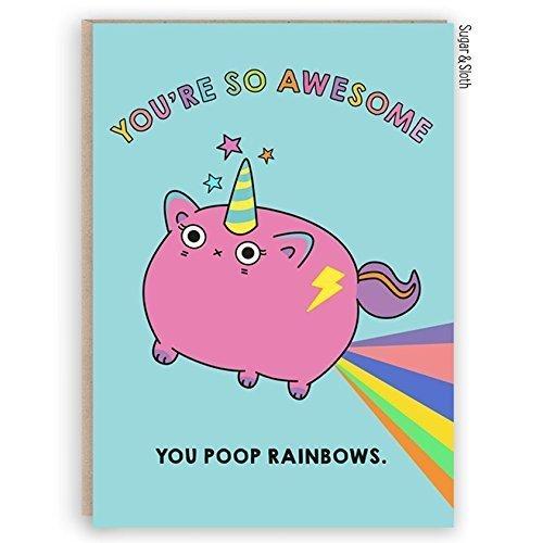 Funny Best Friend Unicorn Cat Card Birthday Poop