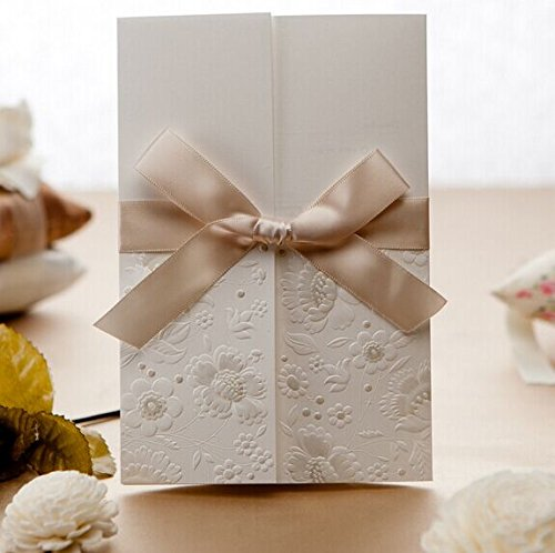 300 Set Vintage Embossed Tri-fold Wedding Invitation with Ribbon Bow
