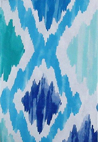 Summer Fun (Elrene) Watercolor Ocean Tie Dye Diamond Pattern Vinyl Flannel Back Tablecloth (52