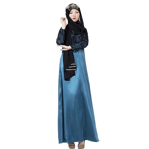 BOZEVON Musulmano Islamico Donna Charming Cuciture di pizzo Robes a Maniche Lunghe abaya Abito Vesti...