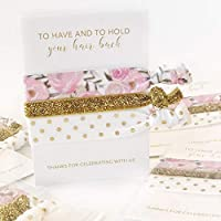 Blush Floral Bridal Shower Favours for Guests, Hair Ties Bracelets, Bachelorette Party Decorations and Supplies (5 Pack)