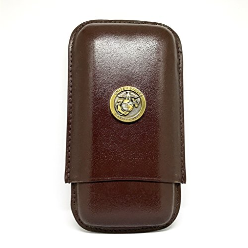 - Genuine Leather US Marines Cigar Case 3-Finger with 3 Cigar Holders - Pocket-Sized Cigar Case for Travel, Gifts for Men by Cigar Cutters by Jim (Brown)