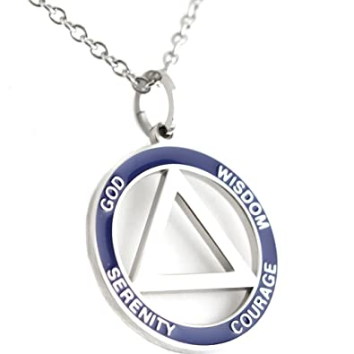 Amazon 12 step recovery pendant stainless steel aa symbol 12 step recovery pendant stainless steel aa symbol necklace serenity jewelry aloadofball Choice Image