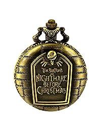 Retro Bronze Tim Burton's The Nightmare Before Christmas Engraved for Pendant Necklace Quartz Pocket Watch