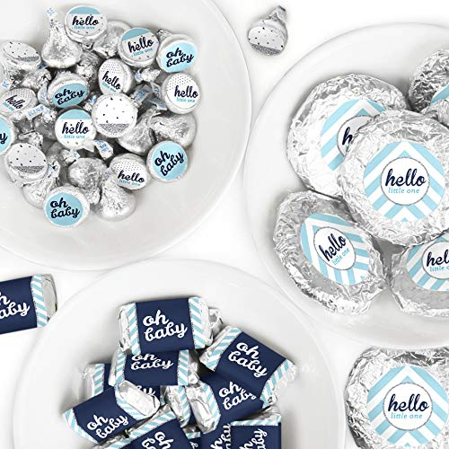(Hello Little One - Blue and Silver - Mini Candy Bar Wrappers, Round Candy Stickers and Circle Stickers - Boy Baby Shower Candy Favor Sticker Kit - 304 Pieces)