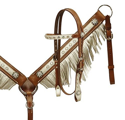 Showman Pony Leather Headstall and Breast Collar with Sil...
