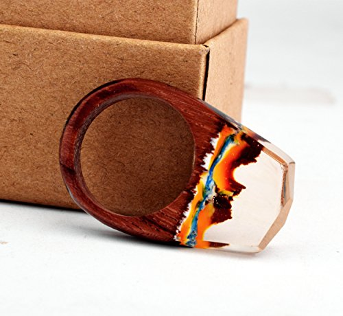 Heyou Love Handmade Wood Resin Ring With Volcano Scenery Landscape Inside Jewelry by Heyou Love (Image #2)