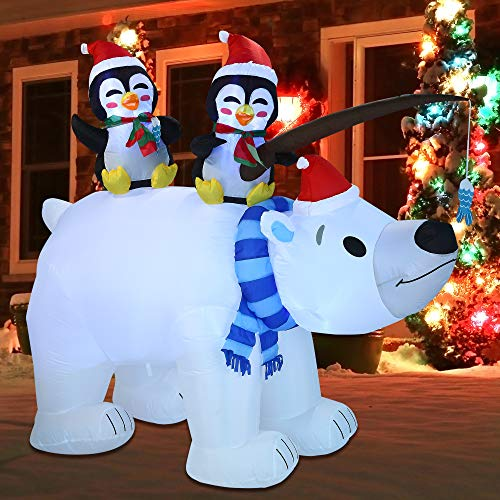 Joiedomi Christmas Inflatable Decoration 6.5 FT Inflatable Holiday Winter Polar Bear with Build-in LEDs Blow Up for Christmas Party Indoor, Outdoor, Yard, Garden, Lawn Décor.