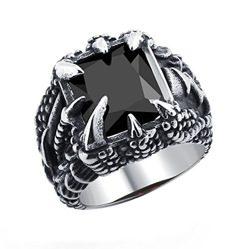 DALARAN Men's Fashion Black Dragon Claw Gothic Rings for Boys Titanium Cubic Zirconia Simple Band Size 11