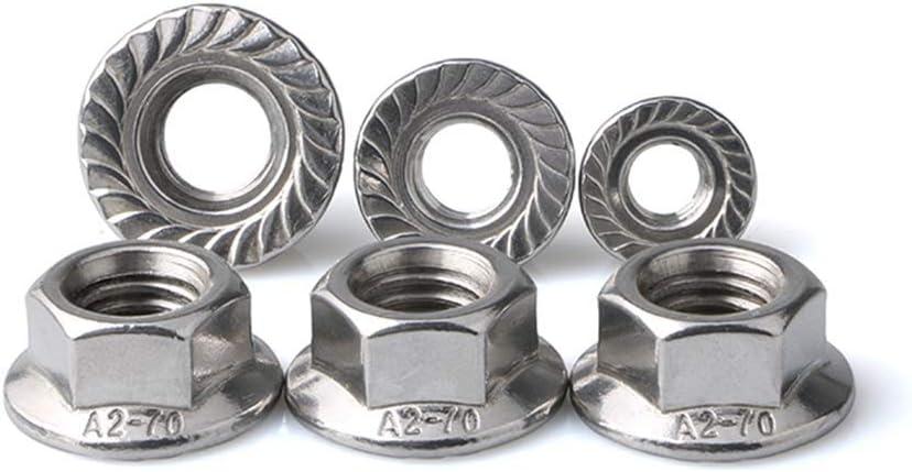 Stainless Steel Serrated Hex Flange Nuts Locknuts 50 Pcs M10