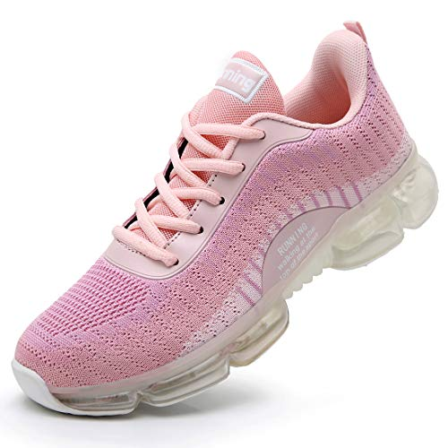 GOOBON Women Air Running Tennis Shoes Lightweight Breathable Mesh Outdoor Indoor Sports Gym Jogging Athletic Casual Fashion Walking Sneakers Pink 9 B(M) US (Best Indoor Gym Shoes)