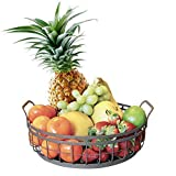 farmhouse kitchen ideas Farmhouse Decor Fruit Basket - Regal Trunk & Co. Home Decor Round Wire Basket | Rustic French Country Style Decorative Serving Tray with Handles | Ideal Serving Trays for Parties, Restaurants, Home