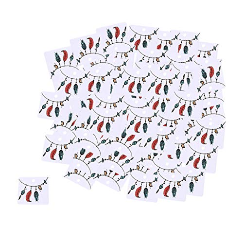 Almencla The Display Guys Pack of 100 pcs 2x2 inch (5cmx5cm) 10 Paper Necklace Earrings Display Hanging Cards for Jewelry Accessory Display. - 3 Feathers