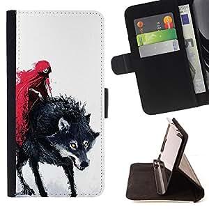 """For Samsung Galaxy Note 5 5th N9200,S-type Rojo Cabo Caperucita muerte del hombre lobo"""" - Dibujo PU billetera de cuero Funda Case Caso de la piel de la bolsa protectora"""