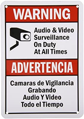 """SmartSign Security Sign, Legend """"Audio & Video Surveillance on Duty at All Times"""", Bilingual Sign with Graphic, Black/Red on White"""