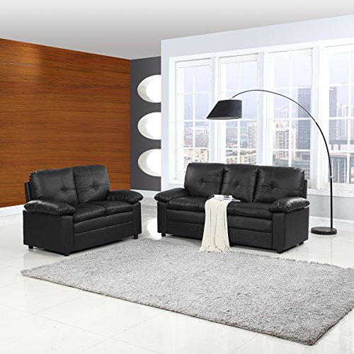 Classic And Traditional Faux Leather Living Room Furniture Set (Black)