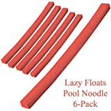 Lazy Floats Soft Swimming Pool Noodle Premium Pool Float 6-Pack (Coral)