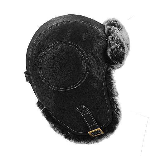 c8a6d16b2c7 LETHMIK Aviator Hat Winter Ski Trapper Hat Classic Pilot Bomber Hat  Cracking Black  Amazon.co.uk  Clothing