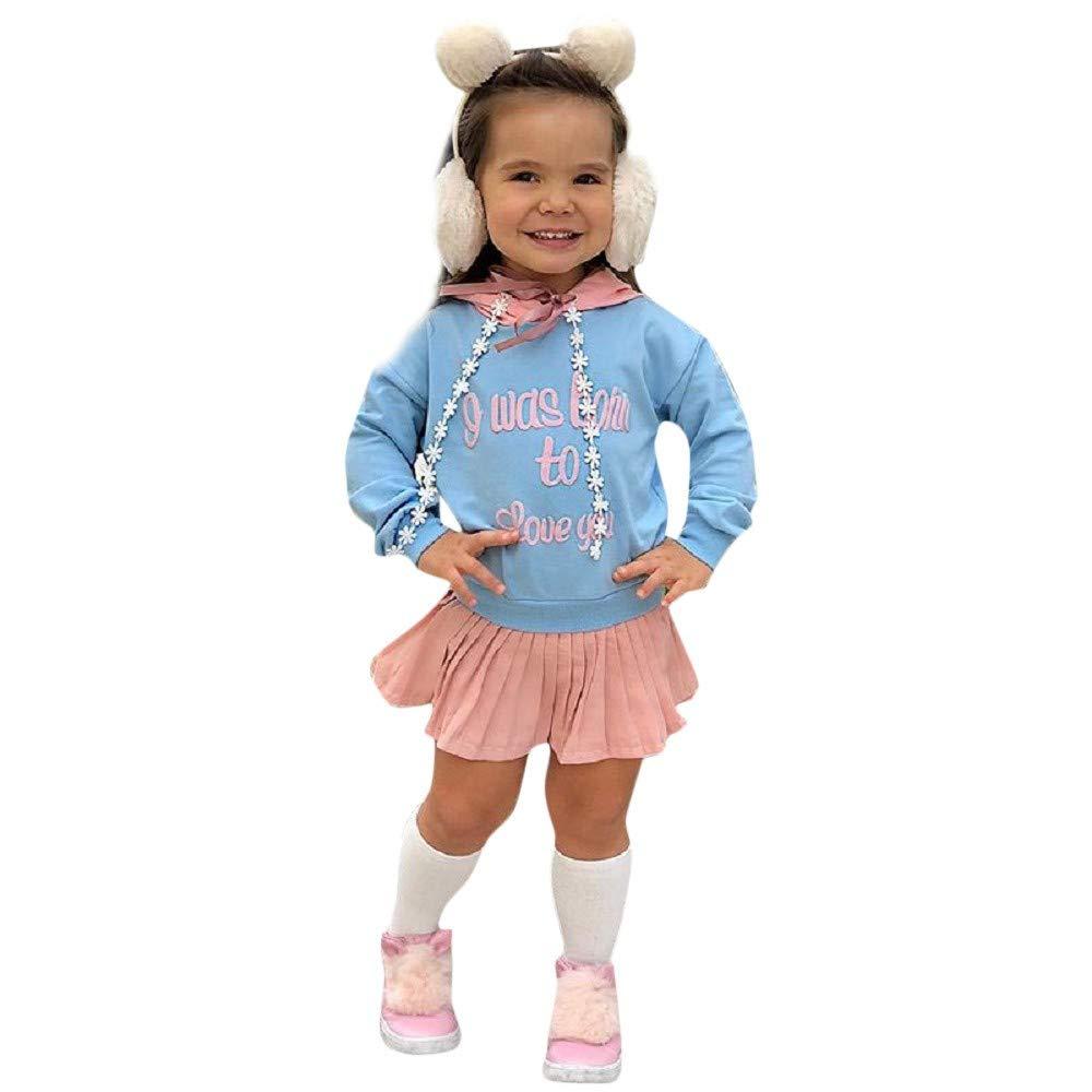MOIKA Casual Kleider für Mädchen, (24 Monate - 6 Jahre) Kleinkind Kinder Baby Mädchen Brief Mit Kapuze Blumenklebeband Prinzessin Kleid Sweatshirt Outfits Kleidung Faltenrock