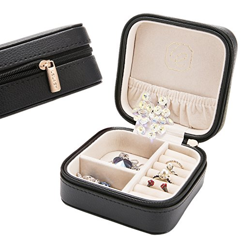 JL LELADY JEWELRY LELADY Small Jewelry Box Portable Travel Jewelry Case Organizer Faux Leather Storage Holder for Earrings Rings Necklaces, Gifts for Women Girls Mini Size (Jewelry Case Box Holder)
