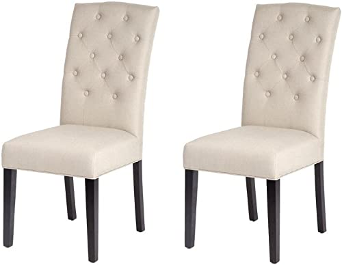 Set of 2 Fabric Contemporary Elegant Design Dining Chairs Home Room