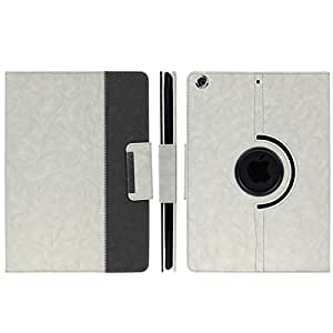 360 Degree Rotation Denim Texture PU Leather Case with Holder & Sleep / Wake-up Function for iPad Air, ENK-3155 (White)
