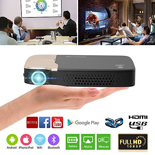 EUG 2018 Pico DLP Projector 3D Android Bluetooth, Full HD 1080P Support HDMI Wireless Projectors for iPad Laptop DVD Blu ray Player Xbox 360 Wii Roku TV Stick by EUG