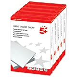 5 Star Office Value Copier Paper Multifunctional Ream-Wrapped 80gsm A4 White - 1 box containing 5 Reams of 500 sheets (1)