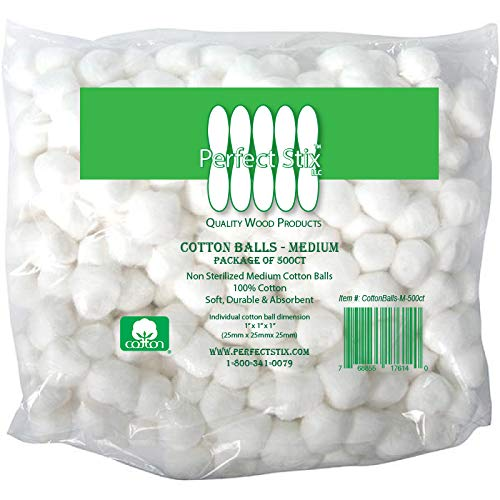 Perfect Stix Cotton Balls M-500ct Medium Sized Cotton Balls (Pack of 500)