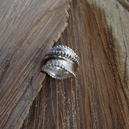 925 Sterling Silver Wide Band Meditation Ring Statement Ring Spinner Ring ss308