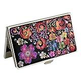 Antique Alive Mother of Pearl Metal Purple Flower Arabesque Design Business Credit Card Holder Wallet (B107)