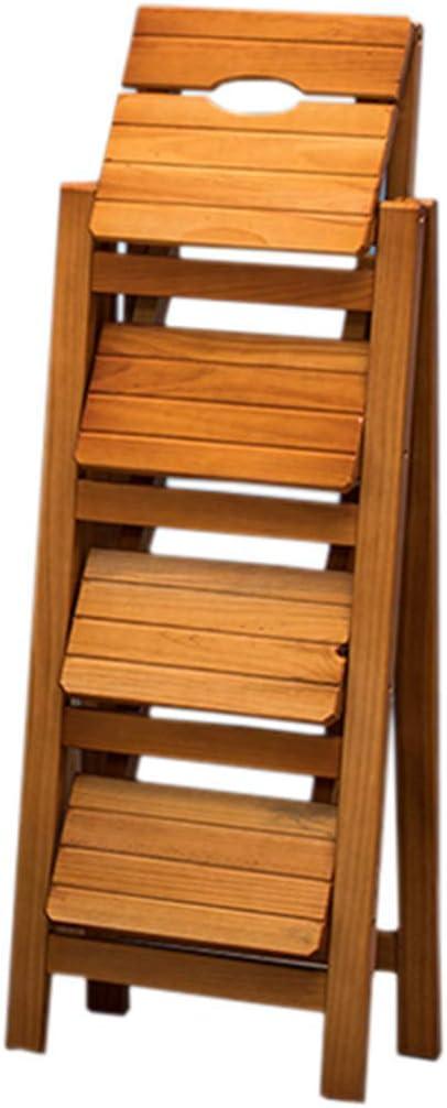 KFDQ Inicio Taburetes, taburete Taburete alto Silla de escalera Asientos Escalera de madera Escalera de 4 peldaños Escalera de tijera Multifuncional Plegable Plegable Biblioteca/Cocina/Oficina Pa
