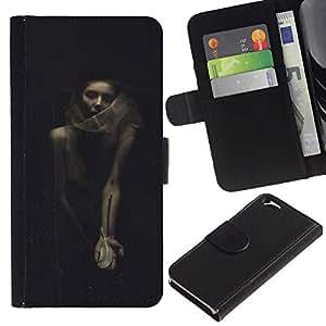 KLONGSHOP // Tirón de la caja Cartera de cuero con ranuras para tarjetas - De Halloween Mujer Vignette Retro - Apple Iphone 6 //